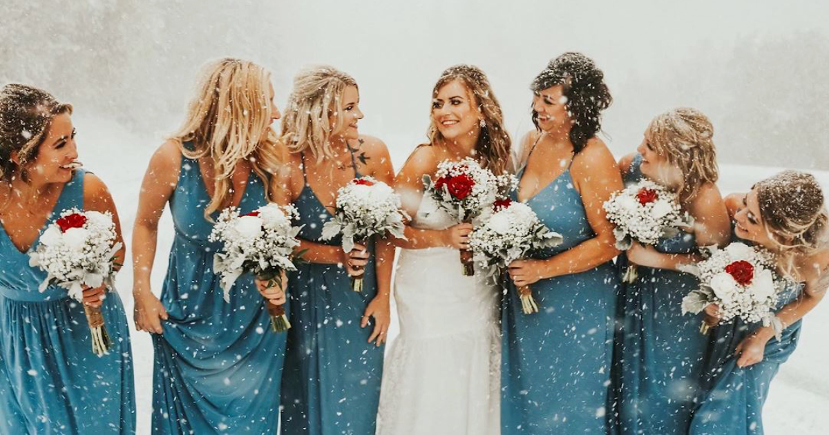Brittany Tuohy and bridesmaids. in snow