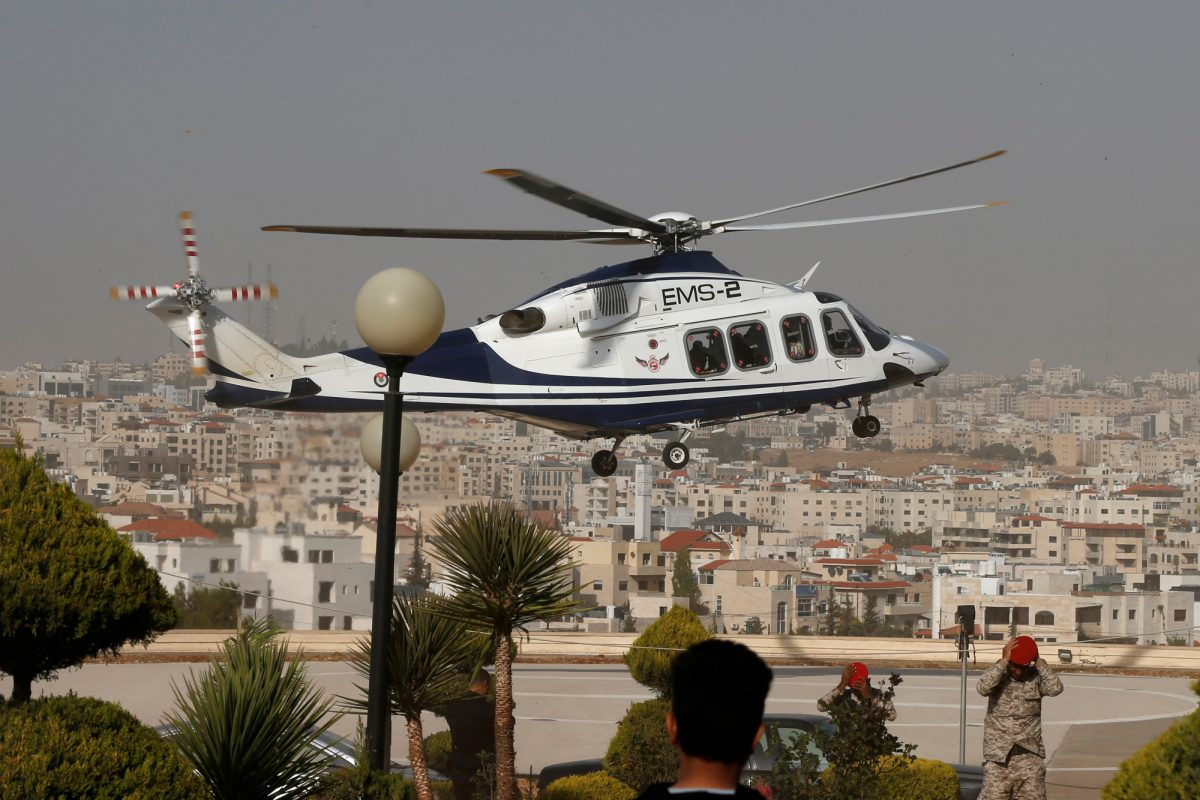 Helicopter carrying injured