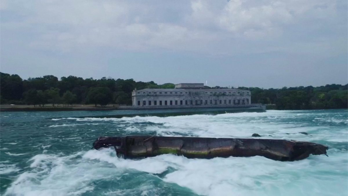 Historic Niagara Falls Scow Shifts During Windstorm