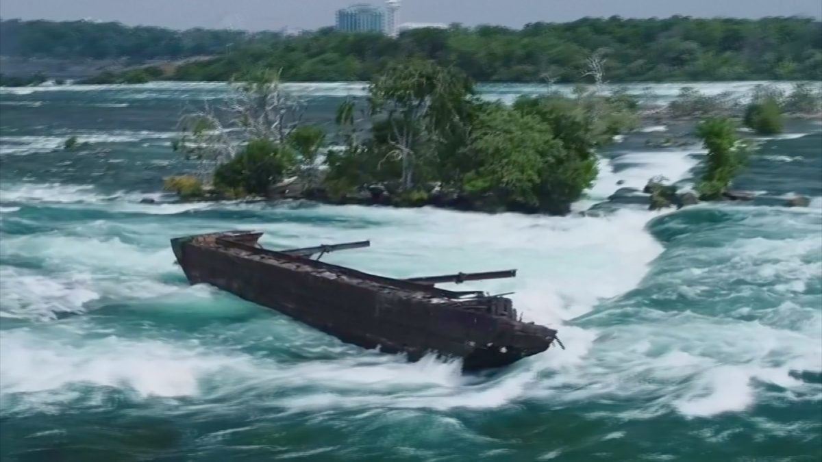 Historic Niagara Falls Scow Shifts During Windstorm
