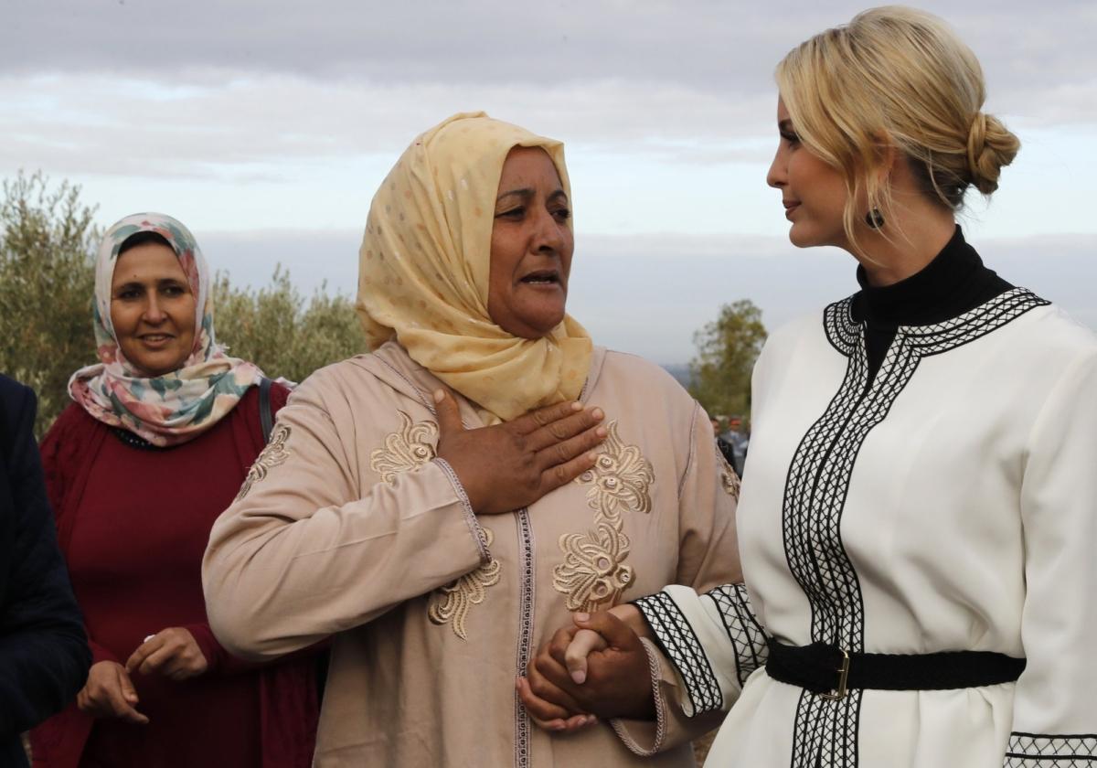 Farmer Aicha Bourkib talks to Ivanka Trump
