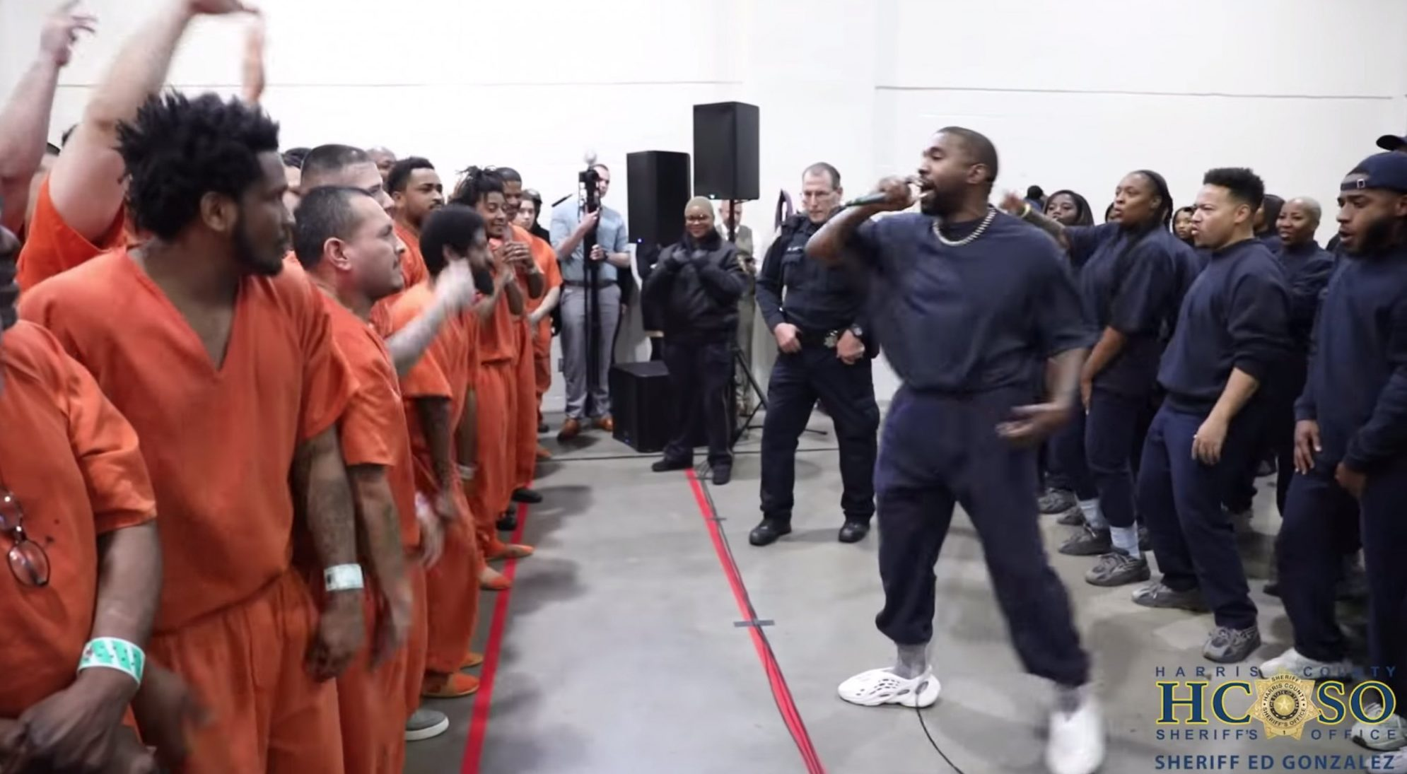 Kanye West performs at a surprise concert for inmates in the Harris County Jail in Houston, Texas, on Nov. 15, 2019. (Harris County Sheriff's Office)