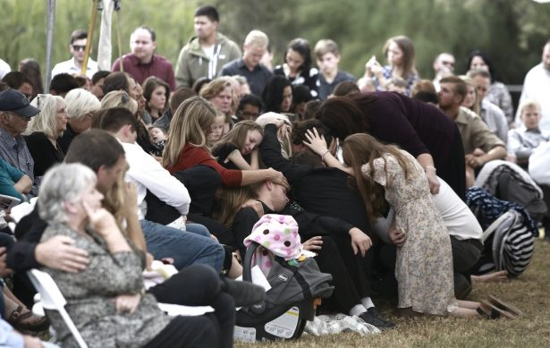 People attend the funeral of Dawna Ray Langford