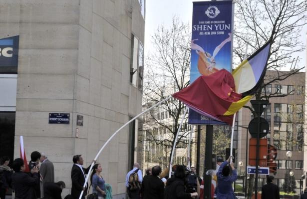 Shen Yun banner in Belgium
