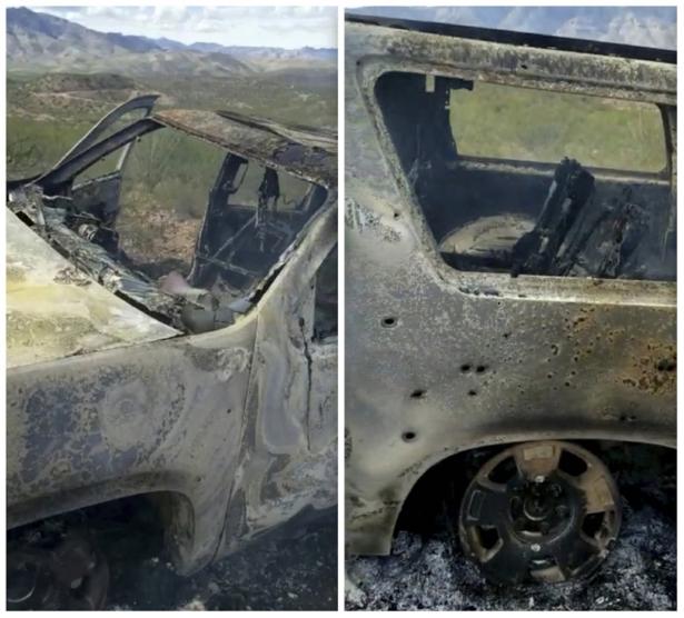 burned-out vehicle from cartel ambush