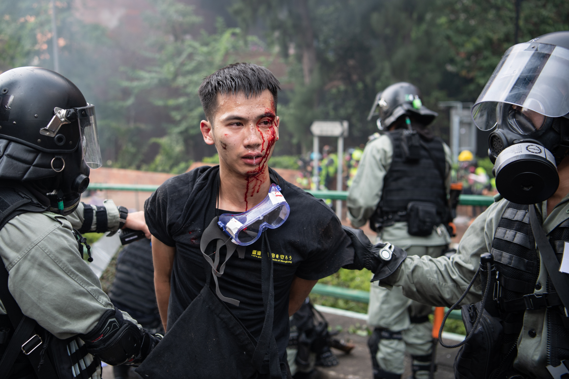 protesters in blood