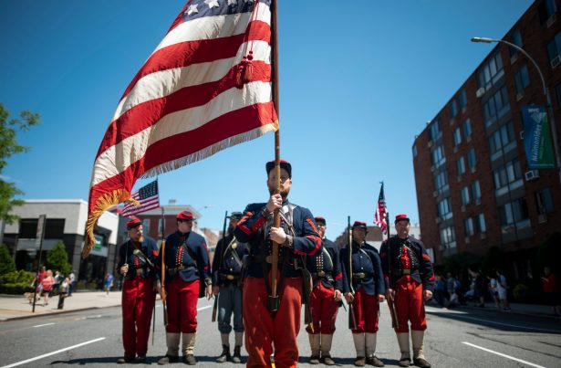 Veterans march on the street