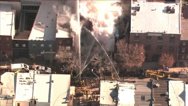 Philadelphia Firefighters Respond to Building Blaze and Collapse