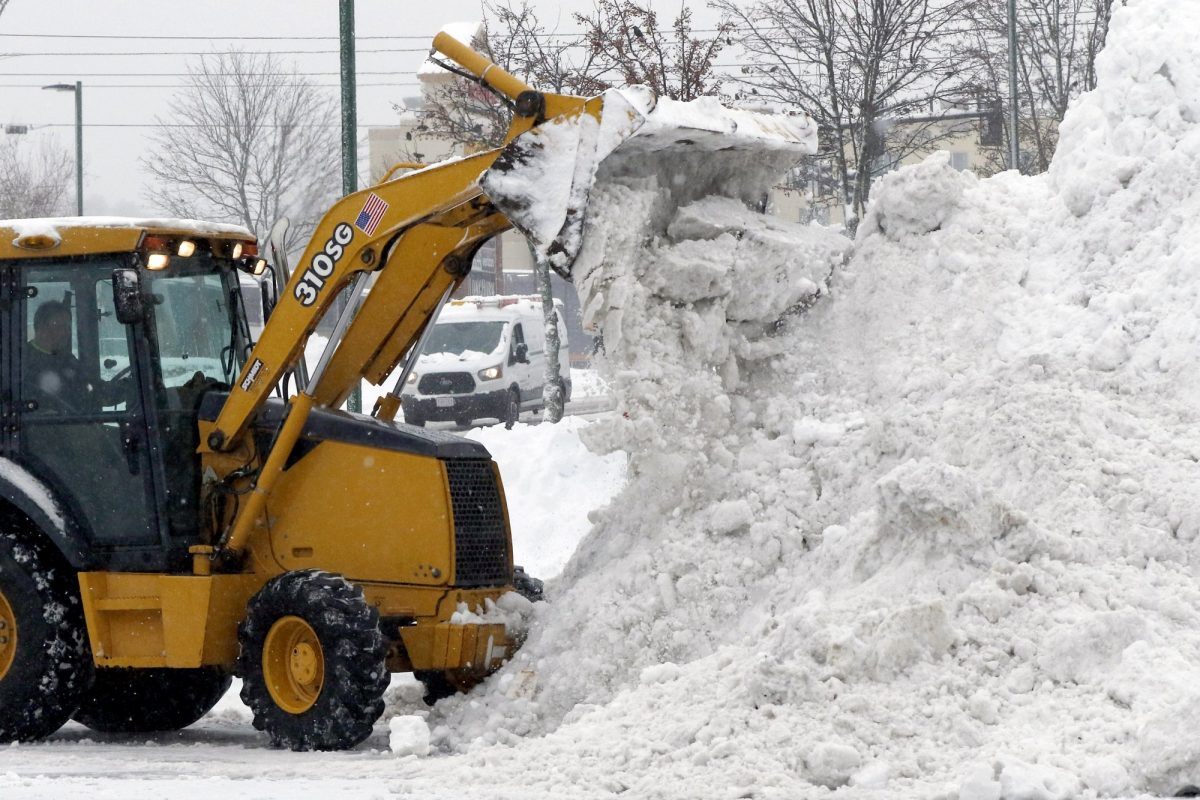front end loader piles snow