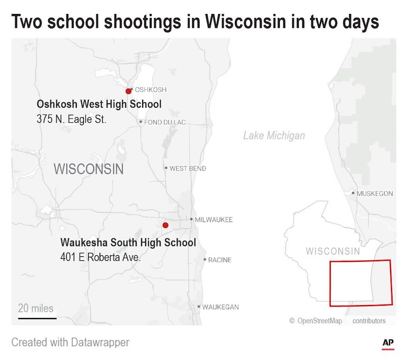 Police say there's been another shooting at a Wisconsin high school