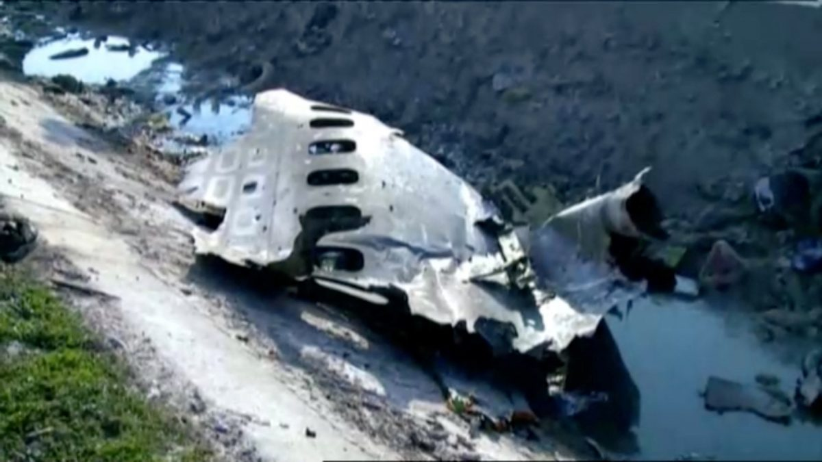 Part of the wreckage from Ukraine International Airlines