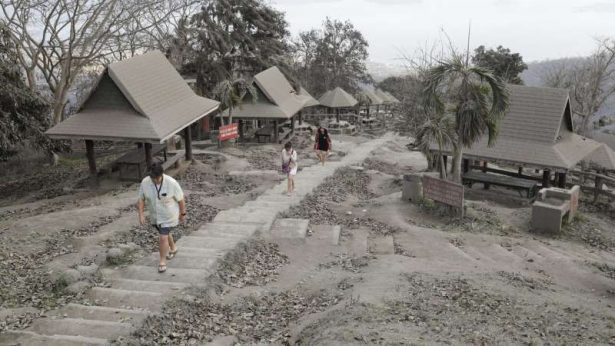 volcanic-ash at a town near Taal volcano