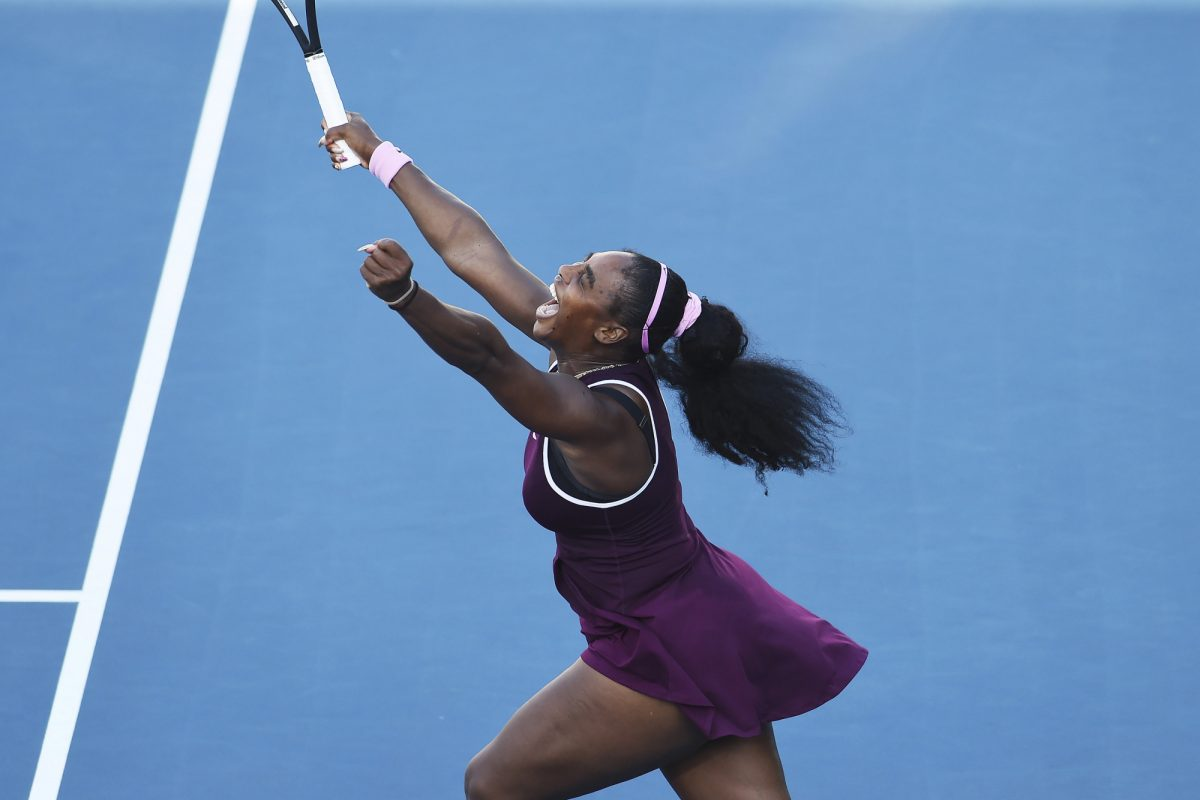 Serena Williams celebrates winning