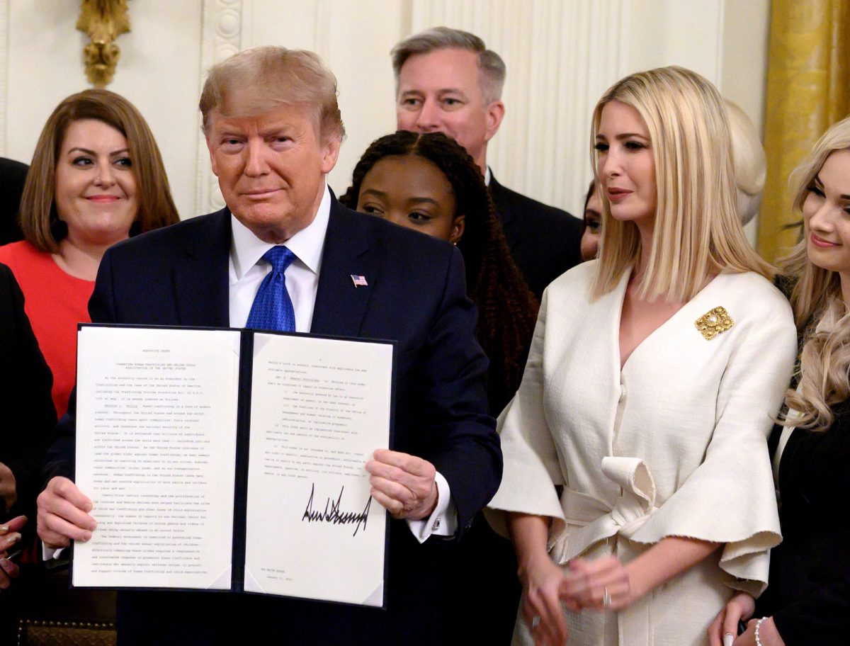 Trump holds up an executive order