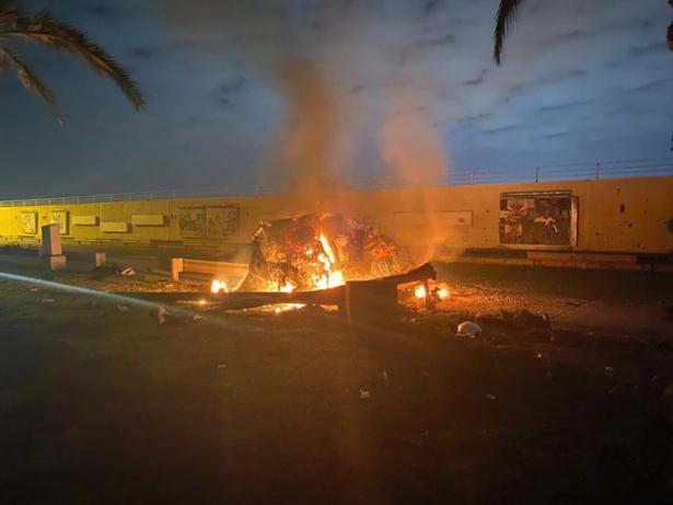 A burning vehicle