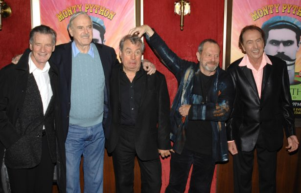 File photo from left, actors Michael Palin, John Cleese, Terry Jones, Terry Gilliam and Eric Idle attend the IFC and BAFTA