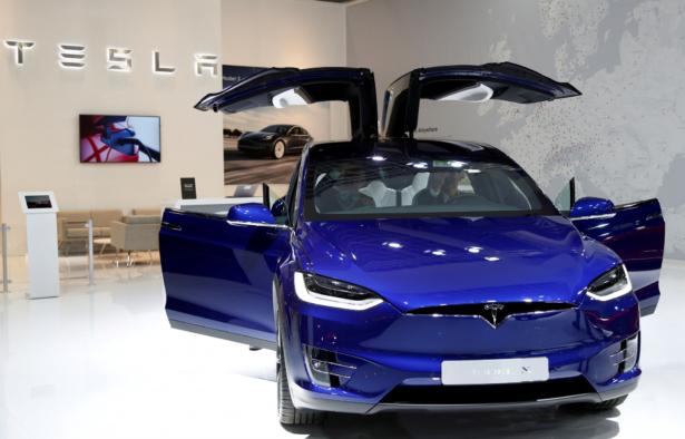 A Tesla Model X electric car-Brussels Motor Show-Belgium