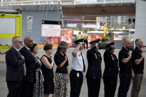 The repatriation ceremony for Paul Hudson, U.S. firefighter killed in AUS