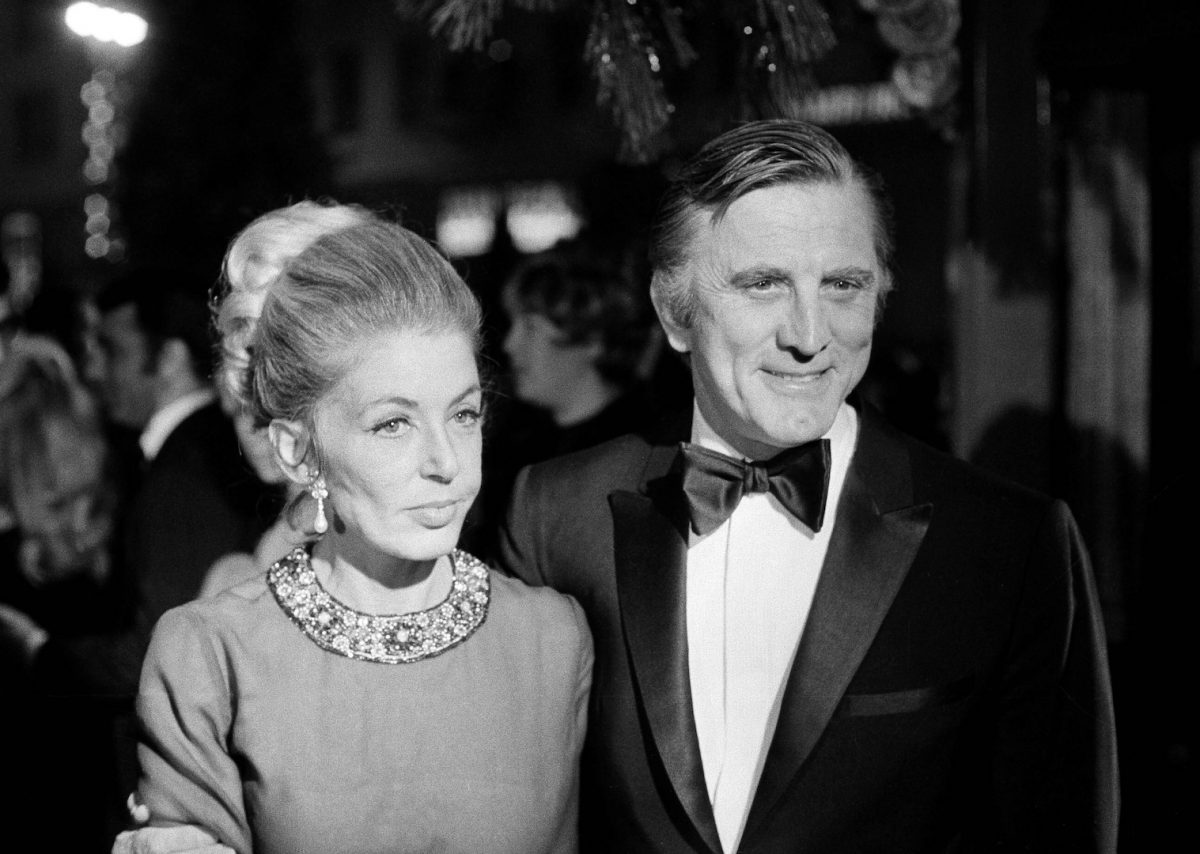 "Actor Kirk Douglas and his wife, Anne, attending the Hollywood West Coast premiere of ""Hello Dolly"""