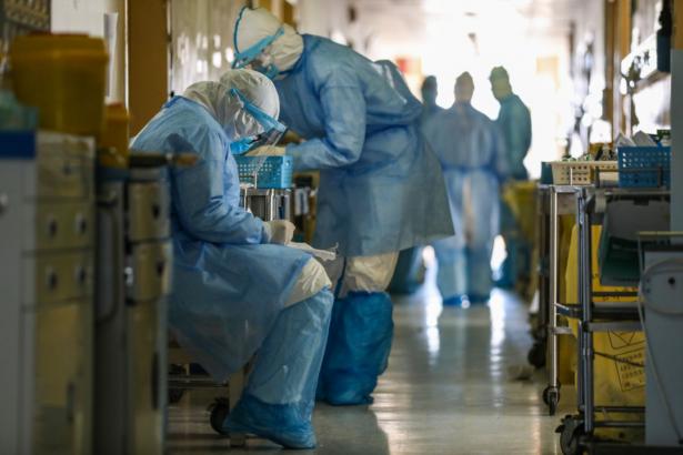 medical staff members in Wuhan