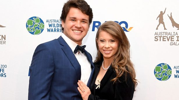 Bindi Irwin poses for a photo with fiance Chandler Powell