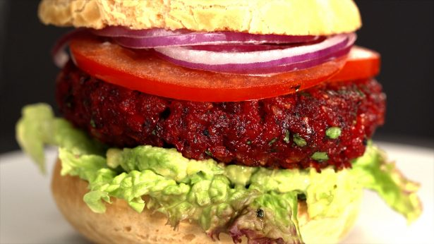 Healthy Root Veggie Burger shown in Taste Life Kitchen