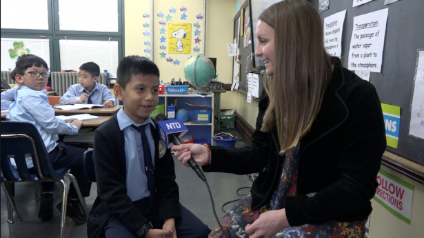 reporter talking to student
