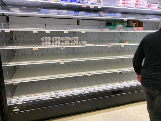 A general view of a virtually empty shelves of eggs and dairy at Kings Supermarket