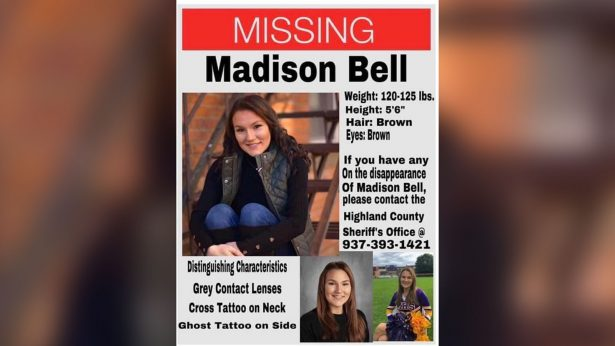 Madison Bell's missing poster that was spread after she was reported missing