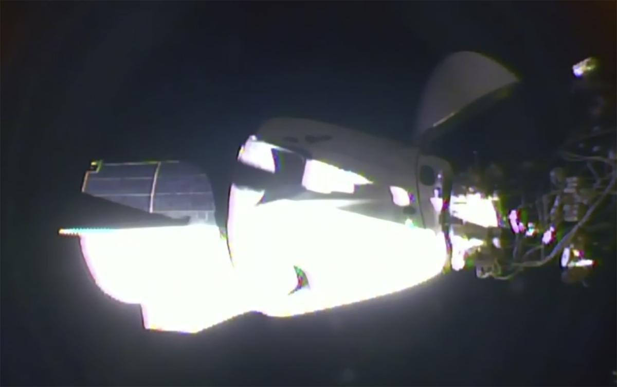The SpaceX Dragon crew capsule docks