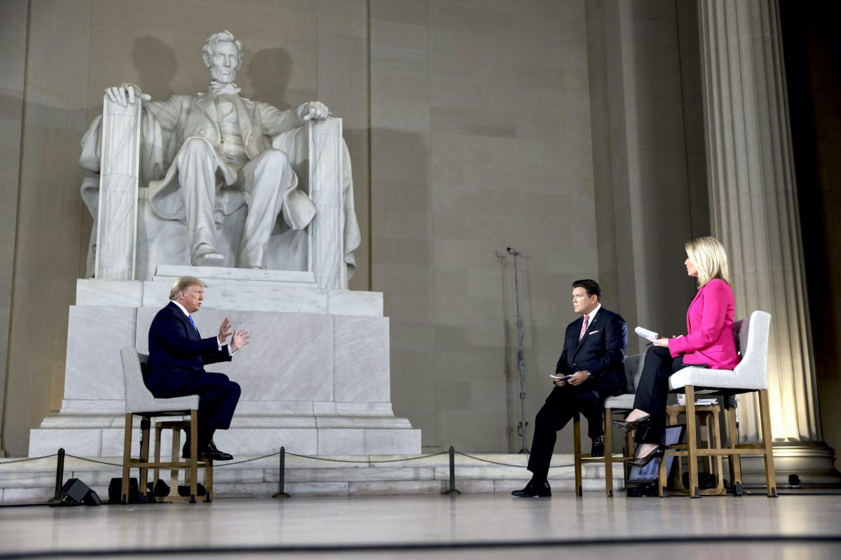 Trump speaks with news anchors Bret Baier and Martha MacCallum