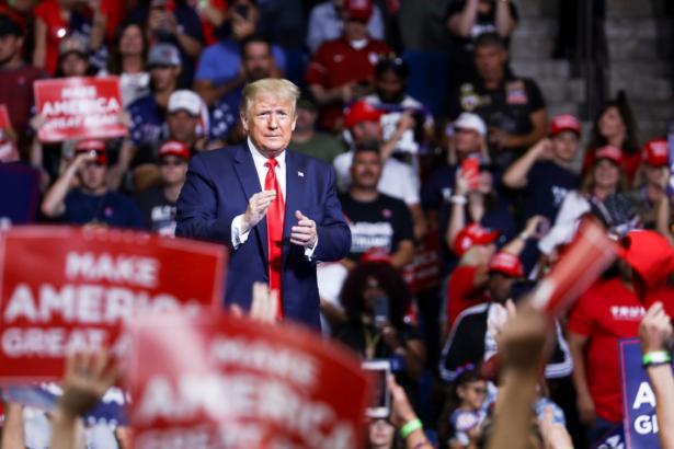 Trump at a campaign rally in the BOK Center in Tulsa