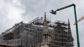 Work Starts on Notre Dame Scaffolding