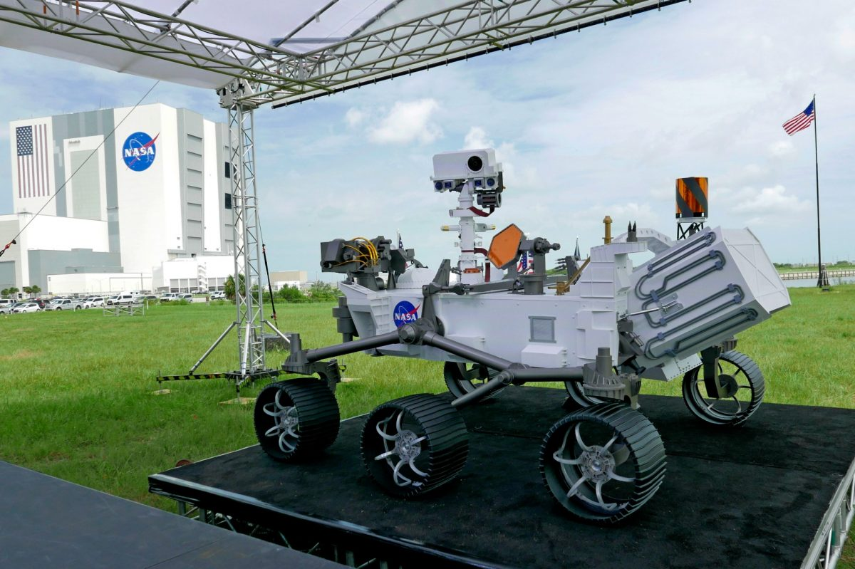 A replica of the Mars rover Perseverance