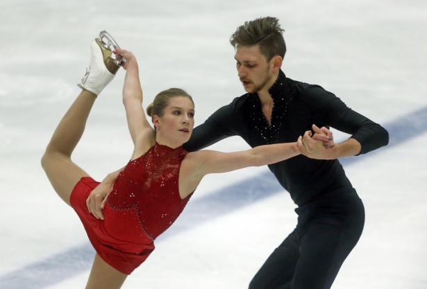 Ekaterina Alexandrovskaya and Harley Windsor, of Australia, perform during the pairs free skate