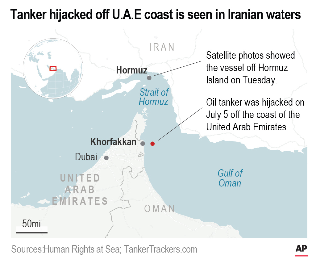 UN Agency: US-Sought Tanker 'Hijacked' Off UAE Now In Iran