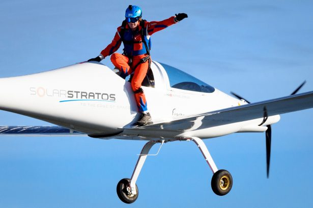 Raphael Domjan jumps from the SolarStratos