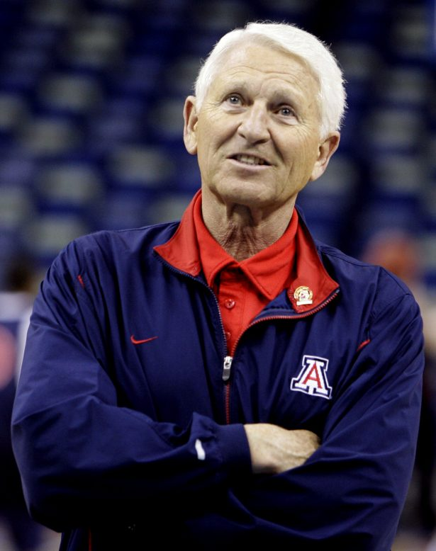 Arizona coach Lute Olson watches his team practice
