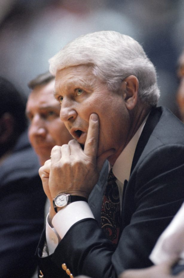 Lute Olson watches his team during a loss to Santa Clara
