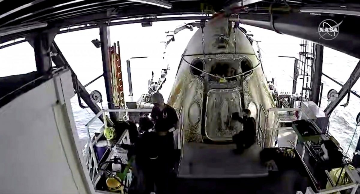 Dragon capsule splashed down