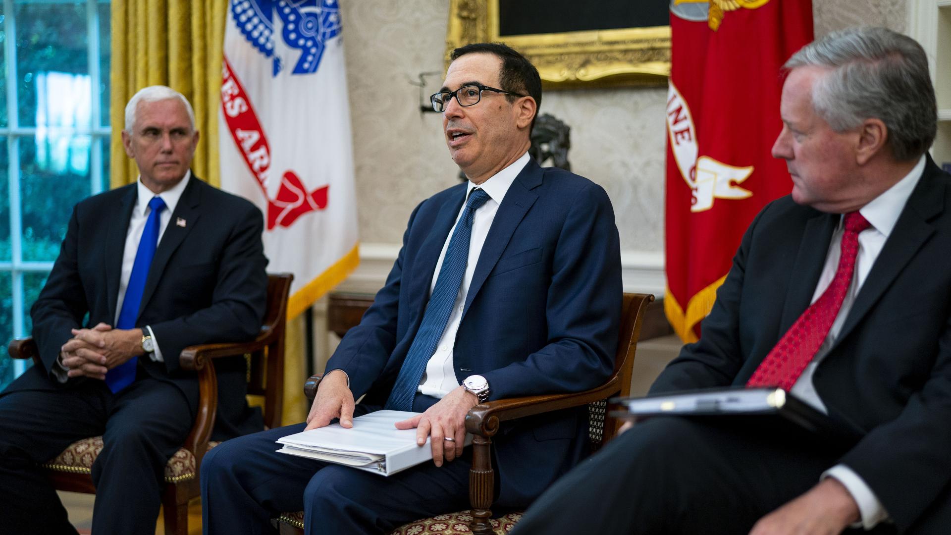 (L-R) Vice President Mike Pence, Treasury Secretary Steven Mnuchin and White House Chief of Staff Mark Meadows