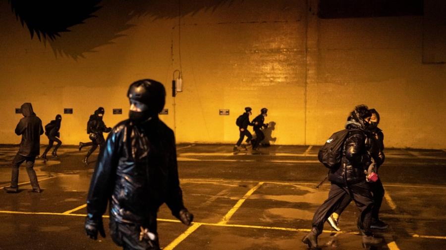 Portland Protesters Deface Police Association Building, Set Fire to Billboard