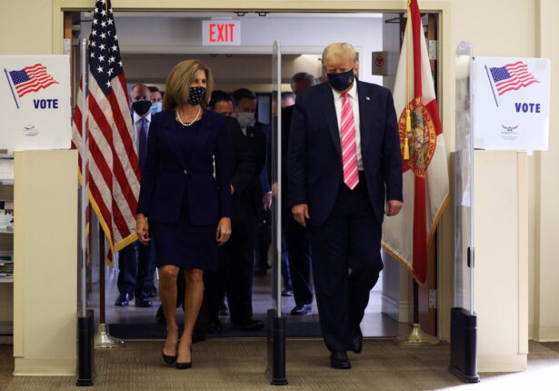 U.S. President Trump casts his ballot for the presidential election, in West Palm Beach
