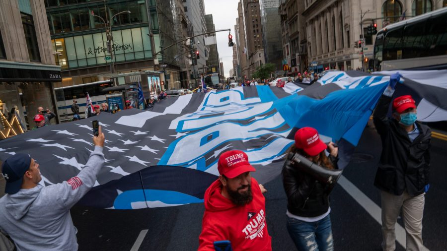 Trump Flag Wide as Fifth Avenue Tours NYC