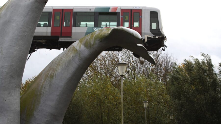 Crashed Dutch Subway Train Lands on Giant Sea Creature Sculpture