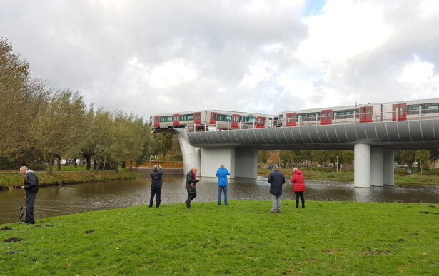 train landed on a sculpture