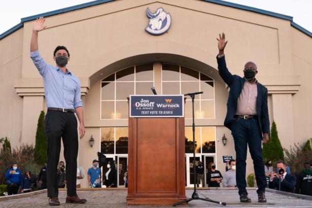 Georgia Democratic Nominees For Senate Rev. Warnock And Ossoff Attend Rally In Jonesboro