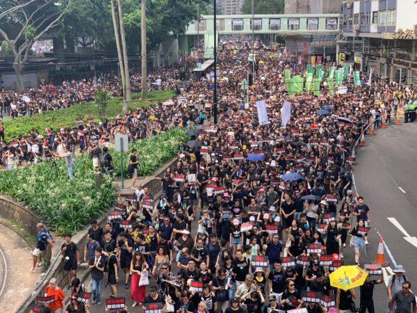 Scene as June 16 march in Hong Kong begins