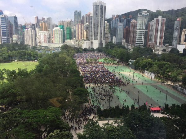 Protesters at Victoria Park hong kong