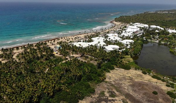 An aerial view from a drone shows the grounds of the Excellence resort in Punta Cana